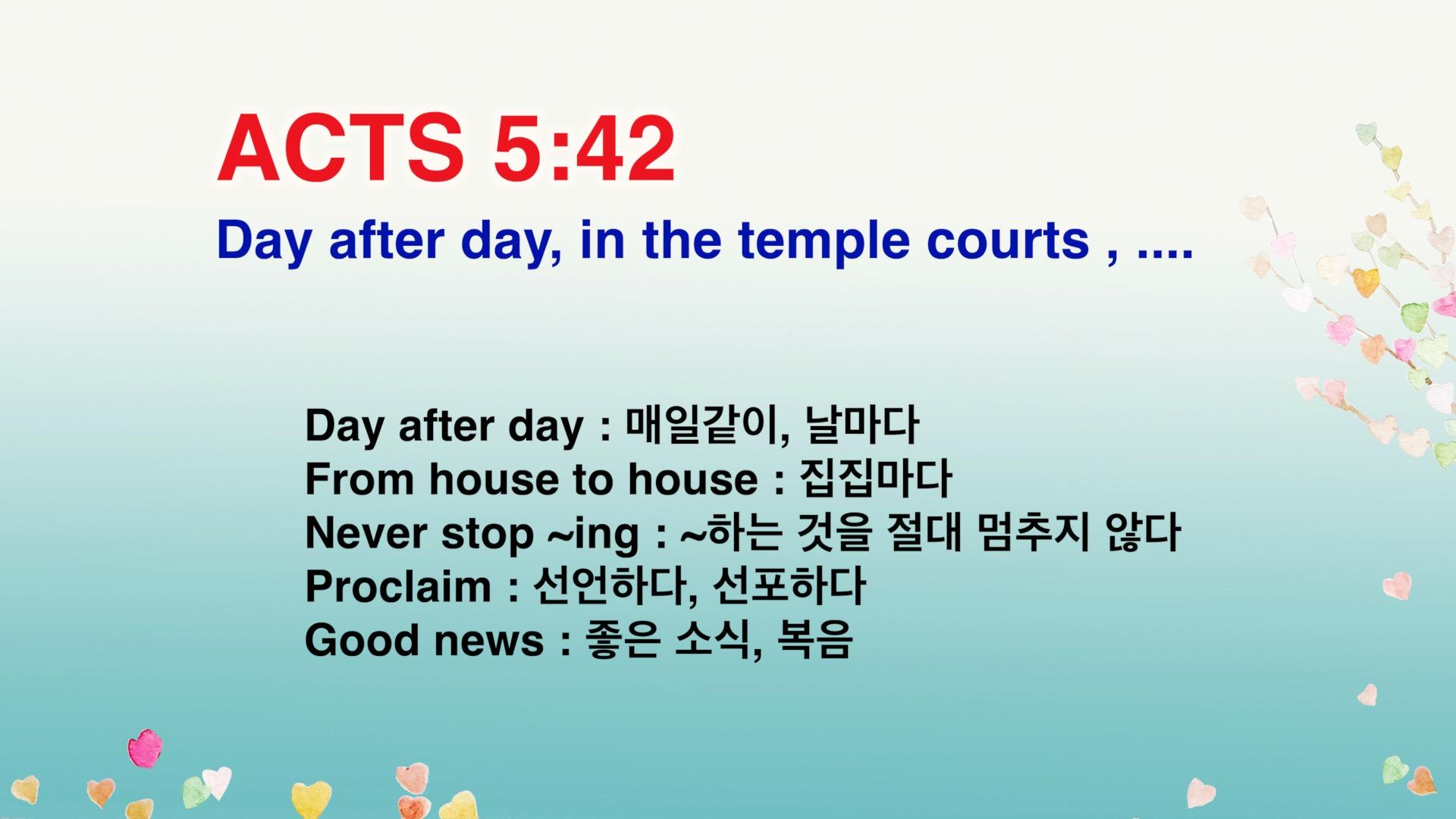 Leena's Bible English-Acts Chap. 5, Ver.42